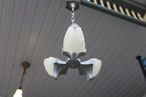 Antique Art Deco Slip Shade Ceiling Light Fixture Chandelier 3 Shades Batwing