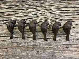 Group 6 Cast Iron Upright Bird Cabinet Pulls Door Drawer Dresser Knobs Rustic