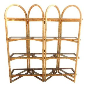 Vtg Rattan Wrapped Double Etagere Folding Room Divider Wall Unit Shelf Shelving