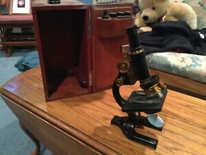 Antique Spencer Buffalo Microscope Carl Zeiss Lens Bausch lomb Brass