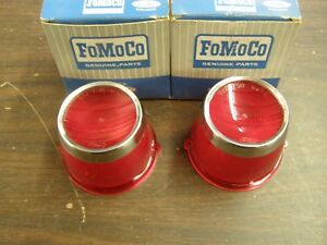 Nos Oem Ford 1963 Fairlane Tail Light Lamp Lenses W Trim