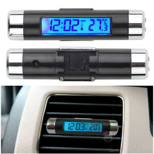 Car Auto Lcd Digital Automotive Thermometer Car Alarm Clock W Blue Backlight