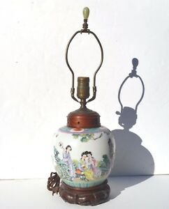 Beautiful Chinese Painted Famille Rose Porcelain Lamp Depicts 4 Beauties