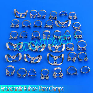 100 Pcs Endodontic Rubber Dam Clamps Mix Dentist Dental Instrument