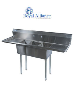 Stainless Steel 3 Compartment Sink 60 X 20 With 2 Drainboards