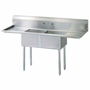 Stainless Steel 2 Compartment Sink 72 X 24 With 2 Drainboards
