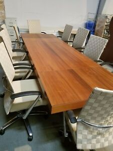 Custom Made Conference Table Made In Italy W Davis Webb 2 Platinum Chairs