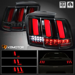 Fit jet Black 1999 2004 Ford Mustang Sequential Led Tail Lights Brake Lamps