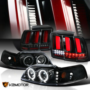 Jet Black 99 04 Mustang Dual Halo Projector Headlights sequential Led Tail Lamps