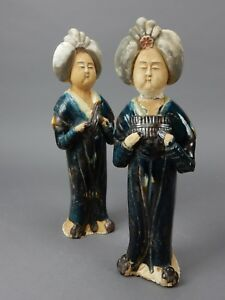 Beautiful Pair Of Chinese Sancai Drip Glazed Tang Style Woman Statues 14 Inches