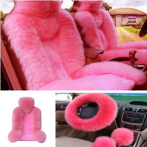 Pink Wool Front Seat Covers long Plush Fur Steering Wheel Cover Winter Essential