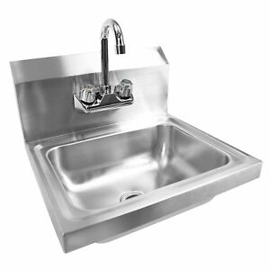 Stainless Steel Wall mount Hand Sink With Faucet Drain 9 X 9 Bowl