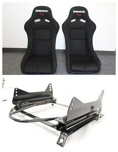 Bride Vios Black Black Frp Honda Pair Seat Long Side Mounts Sliders