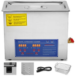 New Stainless Steel 6 Liter Industry Heated Ultrasonic Cleaner Jewelry
