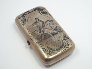 Antique Russian 84 Silver Niello Cigarette Case Military Man On Horse 1884