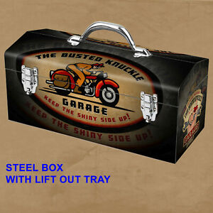 Portable Steel Motorcycle Mechanic Toolbox Busted Knuckle Garage