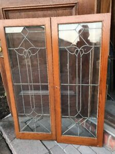 Sg 1694 Match Pair Antique Leaded Glass Cabinet Doors 35 75 X 47 5