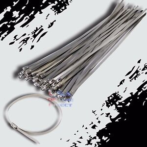 24 Stainless Steel Exhaust Wrap Ul Approved Locking Cable Zip Ties Metal 40 Pc