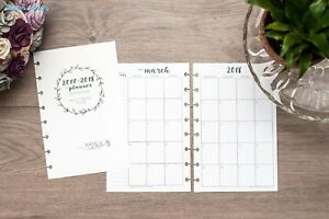 2018 Monthly Calendar For Disc bound Planners Fits Circa Junior Arc By Staples