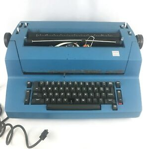 Vintage Blue Ibm Selectric Ii Typewriter For Parts Or Repair