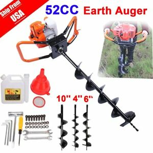 52cc Petrol Earth Auger 2hp Post Hole Borer Ground Drill W 3 Bit Extension Ba