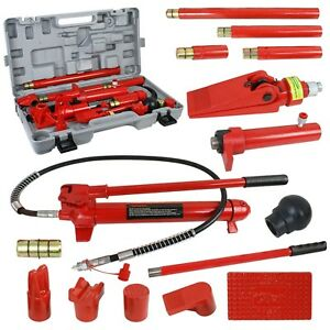 10 Ton Hydraulic Jack Air Pump Lift Bottle Porta Power Ram Repair Auto Tool Set