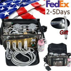 Portable Dental Unit With Air Compressor Suction System Oil Free Motor Usa Ship