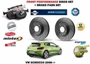 For Vw Scirocco R Tsi Tdi 2008 Front Performance Brake Discs Set Pads Kit