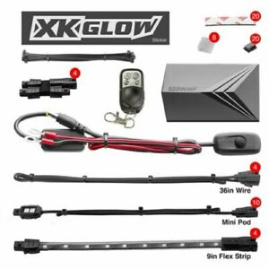 Xkglow Xk034002 r Red 10 Pod 4 Strip Motorcycle Engine Ground Led Light Kit