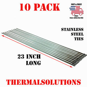 10pc 23 Stainless Steel Zip Tie Cable Strap Band Clamp Exhaust Pipe Header Wrap