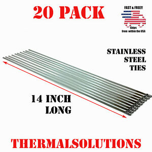20pc 14 Stainless Steel Zip Tie Cable Strap Band Clamp Exhaust Pipe Header Wrap