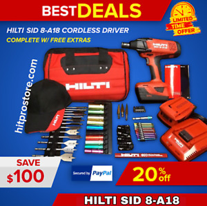 Hilti Sid 8 a18 Cordless Driver New Free Bits 2 Batteries Complete fast Ship
