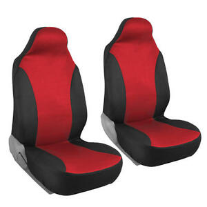 Two Tone Bucket Seat Covers Highback Front Pair 2pc Car Suv Truck Black Red