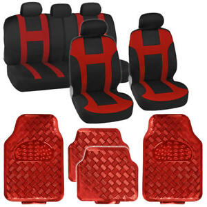 Two Tone Red Monaco Racing Stripe Seat Cover And Red Diamond Plate Rubber Mats