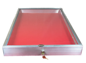 Aluminum Display Case End Opening 22 X 34 X 31 4 Knives Cards Gun With Red Liner