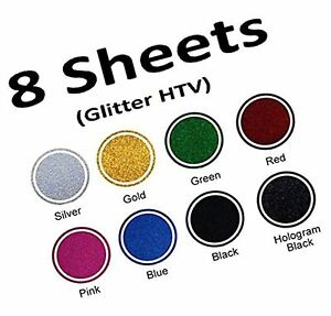 8 Colors 12 By 10 Inches Glitter Heat Transfer Vinyl htv Sheets For T shi