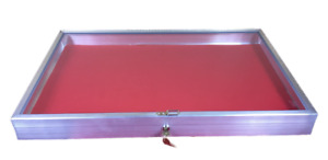 Aluminum Display Case Side Opening 22 X 34x3 1 4 Knives Cards Gun With Red Liner