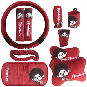10 Pcs set Cartoon Monchhichi Car Accessories Interior Plush Universal F