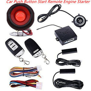 Keyless Entry Car Alarm System W Push Button Start Remote Engine Start Starter