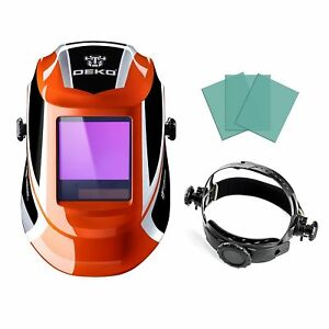 Deko Solar Powered Auto Darkening Lens Arc Tig Mig Welding Helmet Mask Orange