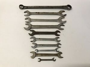 Vintage 10pc Blue point Supreme Wrench Lot Sae Double Open Box Speed Usa Made