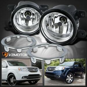 For 2012 2015 Honda Pilot Ex Clear Bumper Driving Fog Lamps switch cover Bezel