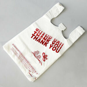 T shirt Bag Thank You Plastic Grocery Retail Carry Out Bags 8 x5 x16