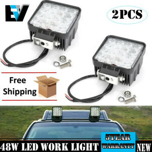 2x 4inch 48w Led Spot Cube Work Lights Driving Pods Off Road Atv Ute Lamp