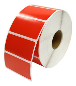 10 Rolls 13000 Labels 2 X 1 Direct Thermal Zebra Red Gx420t Lp2824 Zp450 Lp2844