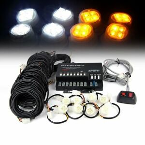 Xprite 160w 8 Led Bulbs Hide a way Emergency Hazard Warning Strobe Lights