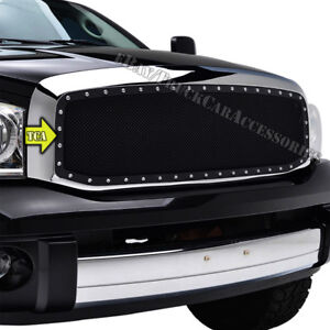 For 2006 2007 2008 Dodge Ram 1500 2500 3500 Replacement Black Mesh Grille Studs