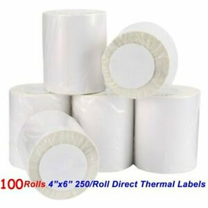 100 Rolls Direct Thermal Labels 250 roll 4x6 For Zebra Lp2844 Eltron Zp450