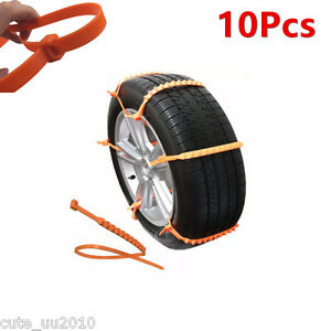 Car Truck Snow Ice Wheel Tyre Tire Antiskid Chains Slip Thickened Tendon 10pcs