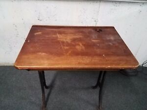 Antique Industrial School Desk Adjustable Legs